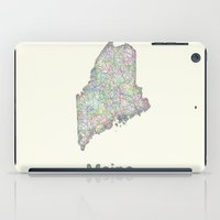 maine iPad Cases featuring Maine map by David Zydd