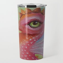 Baby Dragon Sea Horse Ice Cream color book illustration for kids Oil painting on canvas Pastel color Travel Mug