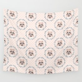 Raccoon and floral wreath Wall Tapestry