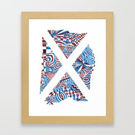 Letter X, Blue/Red Abstract (Ink Drawing) Framed Art Print
