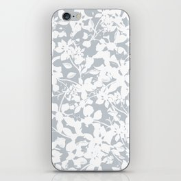 White and Grey Botanical Silhouette Pattern - Broken but Flourishing iPhone Skin