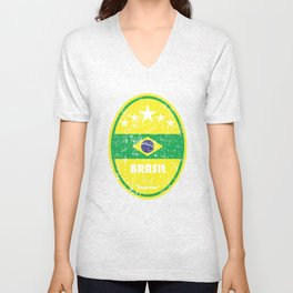 World Cup Football 1/8 - Brasil (Distressed) Unisex V-Neck