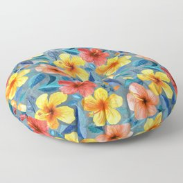 Colorful Watercolor Hibiscus on Grey Blue Floor Pillow