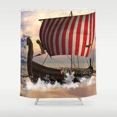 The  viking longship Shower Curtain