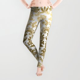 White & Gold Floral Damask Pattern Leggings