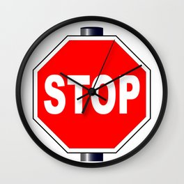 Octagon Stop Sign Wall Clock