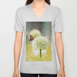 Allium fantasy flowers with butterfly Unisex V-Neck