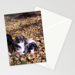Playing in the leaves Stationery Cards