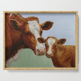Guernsey Cow and Cute Calf Serving Tray