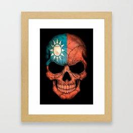 Dark Skull with Flag of Taiwan Framed Art Print
