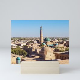 Panoramic view of Islam Khodja Minaret and mosque - Khiva, Uzbekistan Mini Art Print