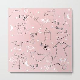 Astrology Pattern Pink #homedecor Metal Print