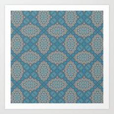 Tribal Tile Blue Art Print
