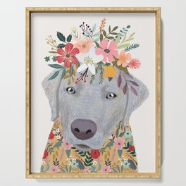 Silver Labrador with Flowers Serving Tray