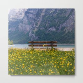 Switzerland Photography - Bench Sitting In The Middle Of A Yellow Flower Field Metal Print