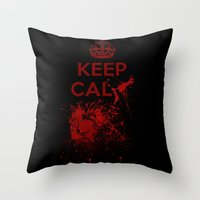 keep calm Throw Pillows featuring Keep calm? by Eveline