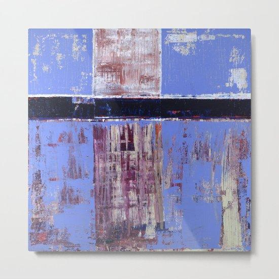 Chagrin Cornflower Blue Abstract Painting Modern Art Metal Print