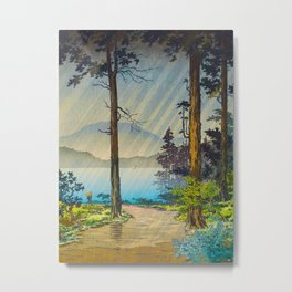 Tsuchiya Kôitsu Japanese Woodblock Vintage Print Light Shining Through Forest Trees Lake Metal Print