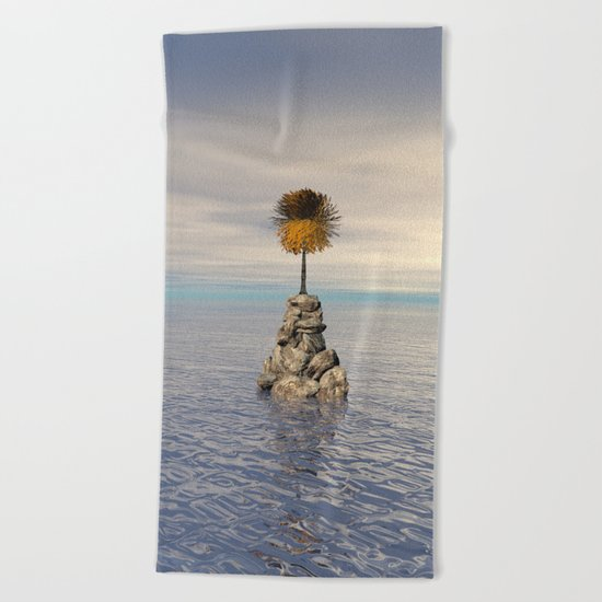 Orange Tree At Sea Beach Towel