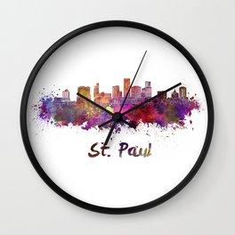 Saint Paul skyline in watercolor Wall Clock