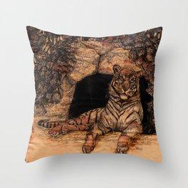 The Tiger's Den Throw Pillow
