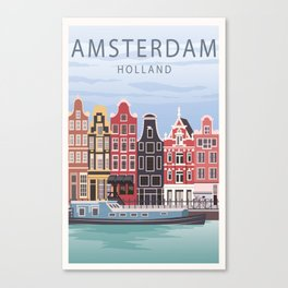 Amsterdam Poster, Amsterdam Print, Travel Poster, City Prints, Amsterdam Gift, Canal Boat, Retro Pos Canvas Print