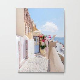 Charming Narrow Lane on Oia Santorini Greece Metal Print