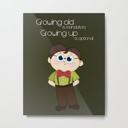 Growing up and growing old a birthday nerdy cute kid illustration Metal Print
