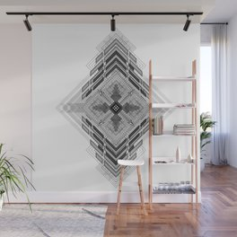 Vigorous and bold fractal geometric shapes with compass symbol Wall Mural
