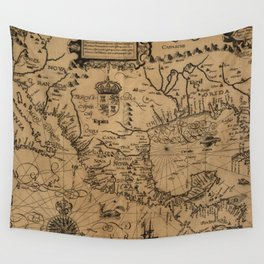 Vintage Map of Mexico (1600) Wall Tapestry
