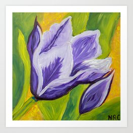 Image of my bright and cheerful Tulip acrylic painting Art Print