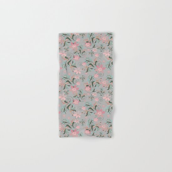 Retro . Pink flowers on grey background . Hand & Bath Towel