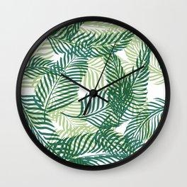 Green Palm Leaves Wall Clock