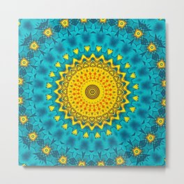 Birds of Paradise Geometric Circle Pattern \\ Tropical Beach House Vibes \\ Green Yellow Blue Colors Metal Print