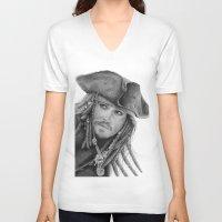 jack sparrow V-neck T-shirts featuring Captain Jack Sparrow by Celeste Roddom