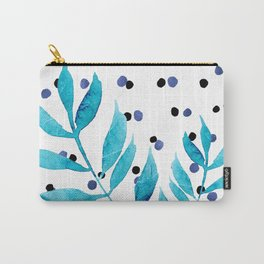 Blue dots and leaves Carry-All Pouch