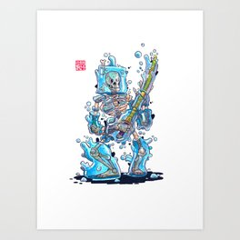 Blobby Skeleton - Blue Art Print