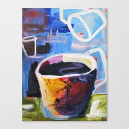 Coffee Geek Cup Blue Green White Yellow Contemporay Art Canvas Print