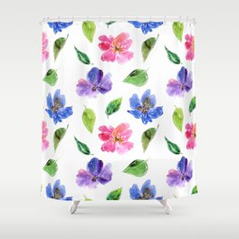Blue, pink flowers. Watercolor florals. Botany. Shower Curtain