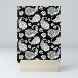 Paisley pattern, Silver Metallic Gray / Grey on Black Mini Art Print