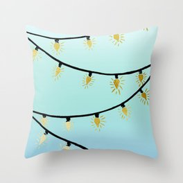 Gold Christmas lights Throw Pillow
