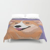 corgi Duvet Covers featuring Corgi by Raewyn Haughton