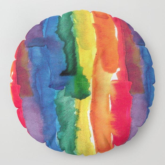 rainbow watercolor Floor Pillow