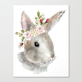bunny with flower crown Canvas Print