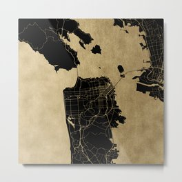 San Francisco California Black and Gold Map Metal Print