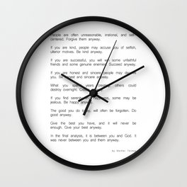 Do It Anyway by Mother Teresa 2 #minimalism #inspirational Wall Clock