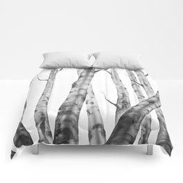 Birch Tree Watercolour Painting black-and-white | Black and White | Minimalism Comforters