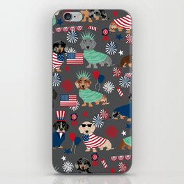 Dachshund july 4th patriotic dog breed pattern doxie dachsie lovers america iPhone Skin