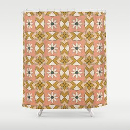 Bold Midcentury Tile Pink Shower Curtain