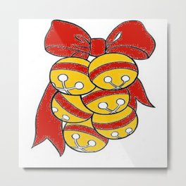 Gold Sleigh Bells With A Red Bow Metal Print